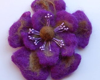 Felt flower brooch, hand felted wool jewelry item, purple and brown, natural wool, flower felt pin, purple corsage, soft fabric flower