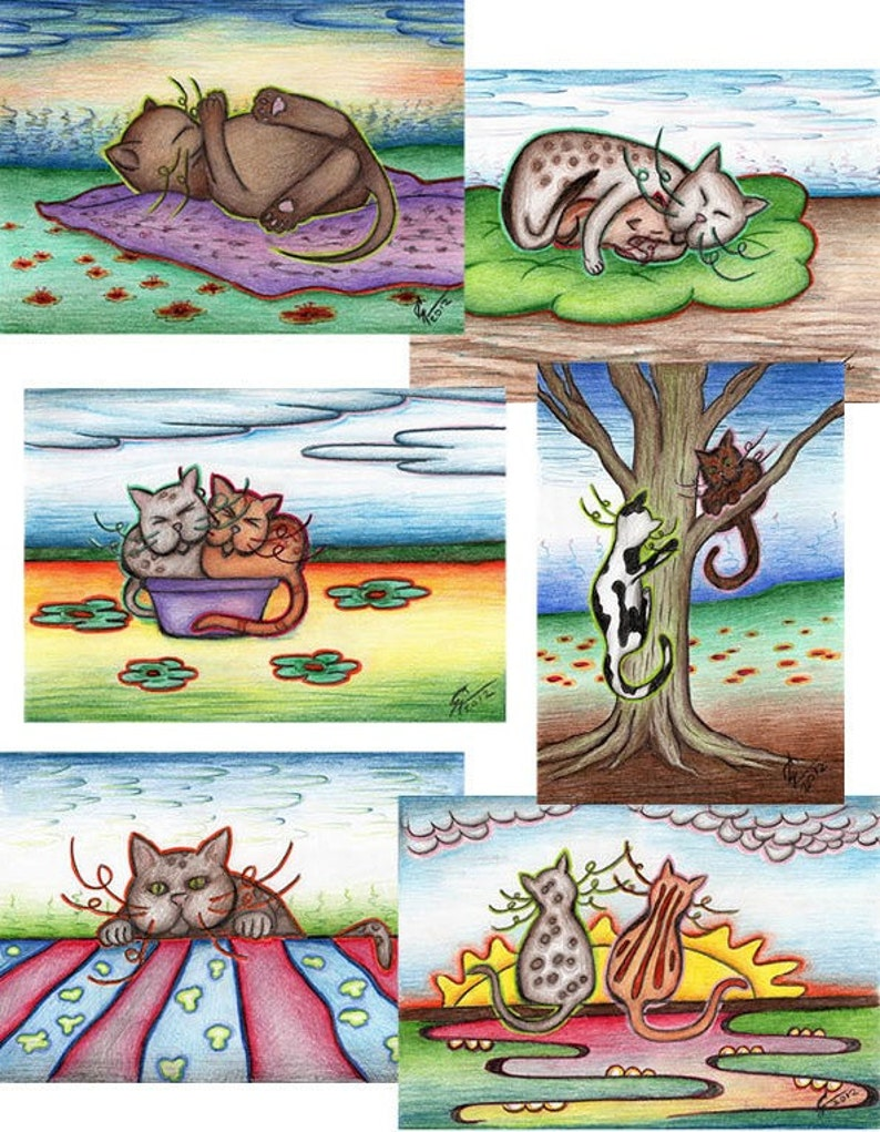 Cat Postcards 6x2 Pieces Greeting Card Birthday