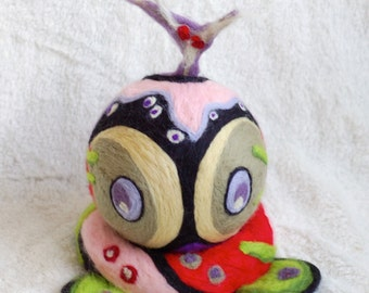 Felt art, OOAK, Hand felted sculpture with lots of colors, felted wool sculpture, handmade fantasy art work, OOAK, small artwork, face art