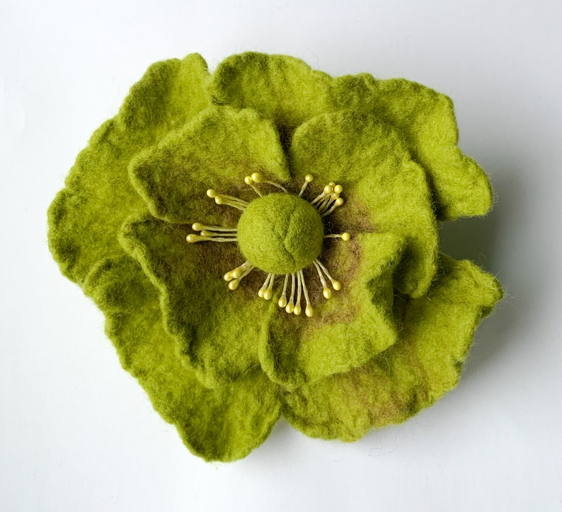 Flower pin felt corsage big flower brooch green and brown jewellery gifts for her flower felt brooch hand felted wool jewelry