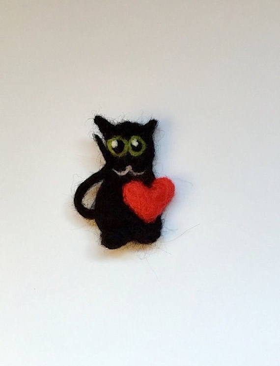 Soutache cat  brooch Red and Black Brooch Cat Lover Gift Gift under 20 dollars