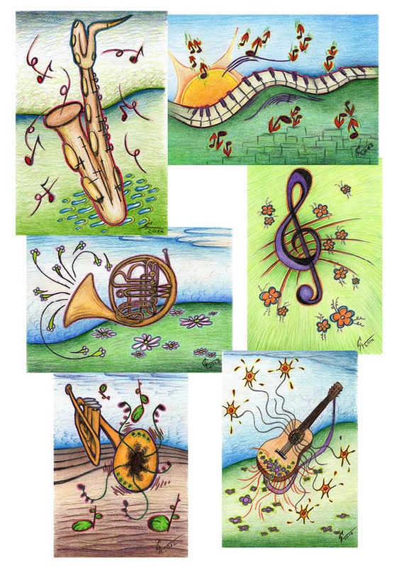 Post Cards With Music Drawing 2x6 Pieces Musical Instrument