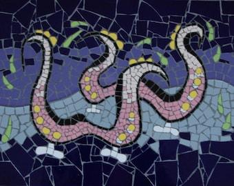 Mosaic art hand made, tiled mosaic, colorful fantasy stone tile mosaic landscape, OOAK artwork, fantasy animal art, wall art mosaic,