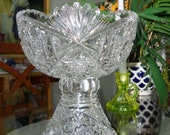 1880-1900 2 pc. ABP AMERICAN BRILLIANT Cut Glass Tall Antique Crystal Punch Bowl and Pedestal Base 8.5 quot H x 8 quot W quot
