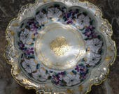 NIPPON Antique 1890s Large 11 quot x 2.5 quot Heavily Gold Gilted Floral Moriage Bowl Dogwoods,Violets, Floral Bouquets Blue Maple Leaf Nippon Mark