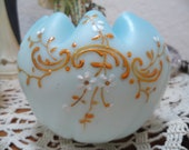 Antique 19C Victorian Mt. Washington Crimped Hand Enameled Artglass Rose Bowl Blue over White Excellent Condition family heirloom