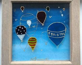 Hand-Painted Glass Wall Art Bristol Hot Air Balloons