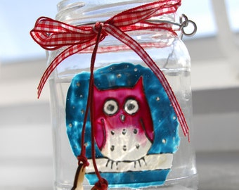 Hand painted owl hanging jar **reduced price**