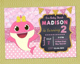 Baby shark invite | Etsy