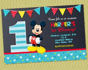 Mickey mouse invitation etsy mickey mouse 1st birthday invitations mickey invitations mickey mouse first birthday invitations baby mickey mouse invitations filmwisefo