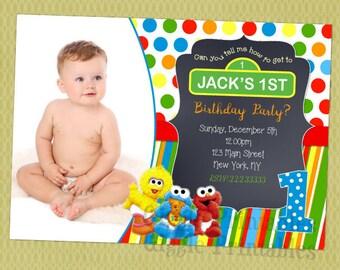 Sesame Street 1st Birthday Invitation Baby Elmo Invitations Party