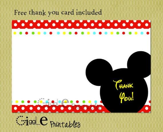 Invitación De Cumpleaños Mickey Mouse Gratis Gracias Tarjeta Incluida