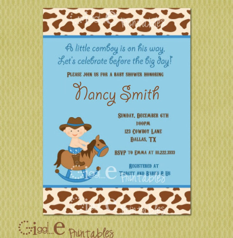 Cowboy Baby Shower Invitation Free Thank You Card Included Etsy