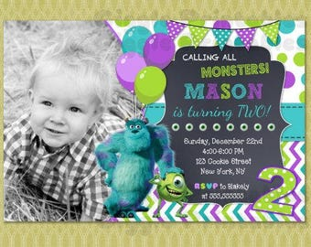 Monster Inc Invitation, Monster Inc Birthday Invitation, Monster University Invitation , DIY printable digital file