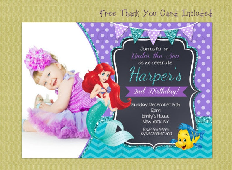 Ariel Birthday Invitation Little Mermaid Invitations