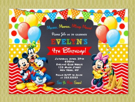 bdf3c54c5 Mickey Mouse Clubhouse invitación cumpleaños invitaciones de | Etsy