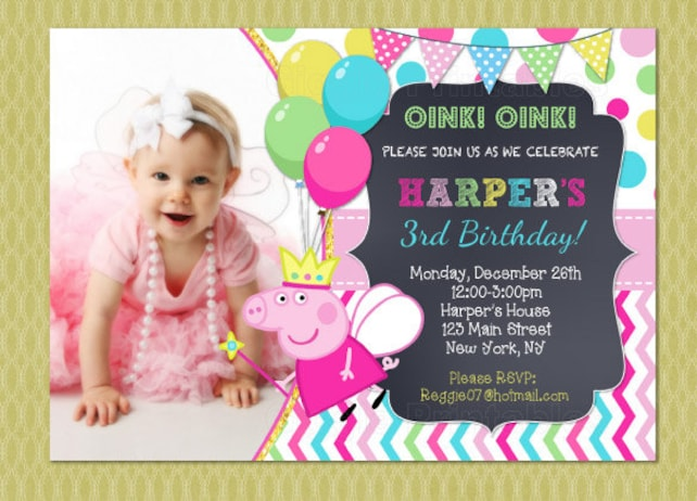 Peppa Pig Birthday Invitation Printable Party Personalized