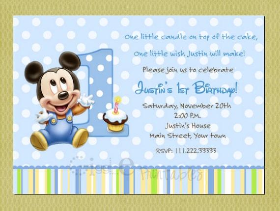 Mickey Mouse Invitations 1st Birthday Koran Sticken Co