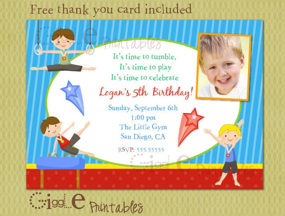 Boy Gymnastics Birthday Invitation FREE Thank You Card