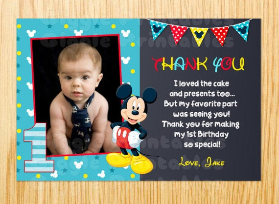 Mickey Mouse Thank You Card Baby Mickey Mouse First Etsy