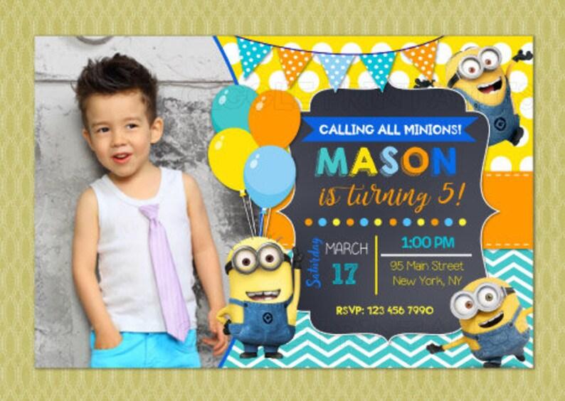 Minion Birthday Invitation Minion Invitation Despicable Etsy