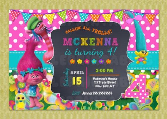 Trolls Birthday Invitation Poppy DIY Printable Digital File