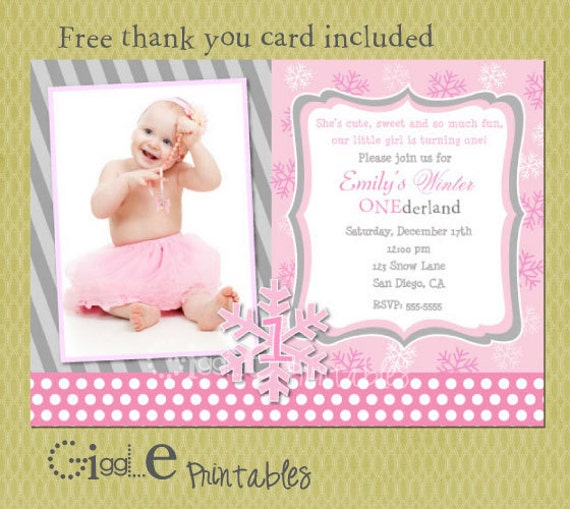 Winter 1st Birthday Invitation - FREE thank you card included
