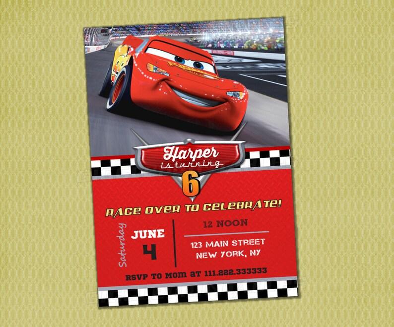 Disney Cars Birthday Invitation Lightning McQueen 3