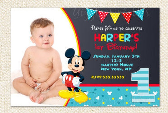 Mickey Mouse 1st Birthday Invitations Mickey Invitations Etsy
