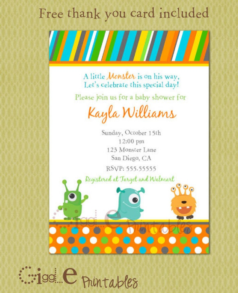 Monster Baby Shower Invitation Free Thank You Card Included Etsy