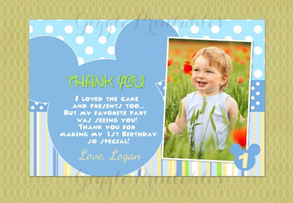 Baby Mickey Mouse Thank You Cards Mickey Mouse Thank Yous Etsy