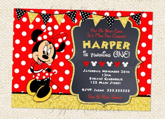 Red Minnie Mouse Invitations Minnie Mouse Birthday Etsy