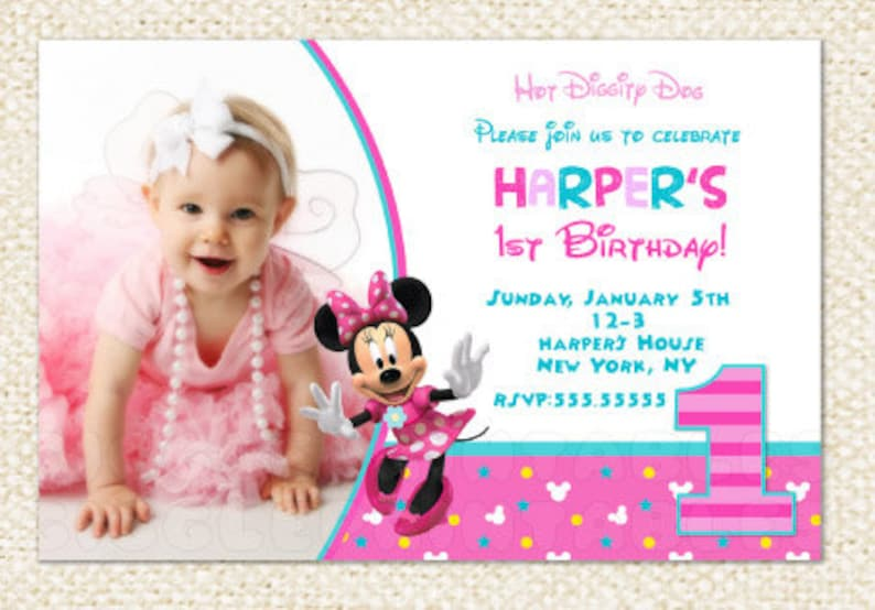 Minnie Mouse 1st Birthday Invitations First