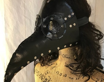 Plague Doctor Mask (black) with celtic wolf carving