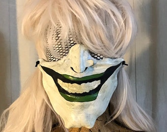 Joker face mask leather handmade biker half Halloween mask