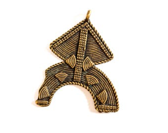 Unisex Brass Pendant from the Kuba Tribe, Africa - vintage