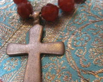Faceted Carnelian Glass Beaded Necklace with Antique Ethiopian Cross