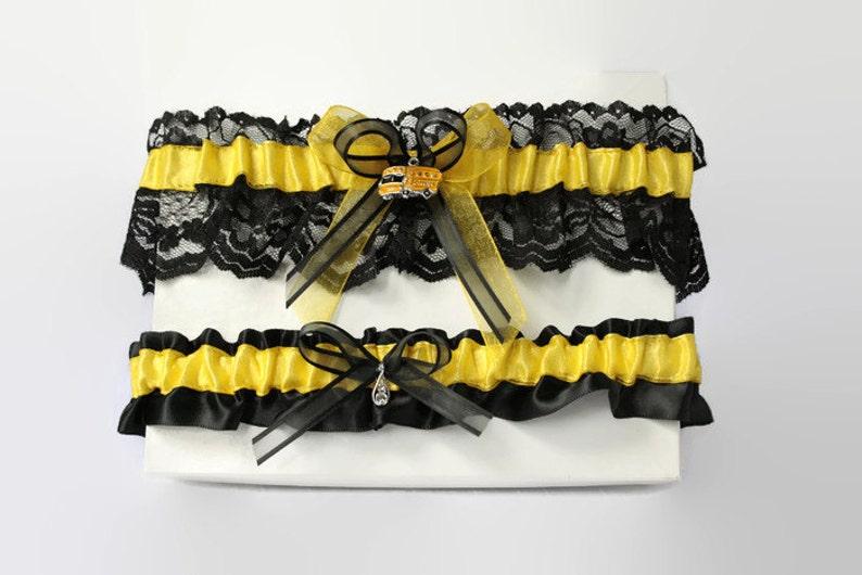 timeless design e11b6 1cad2 Strumpfbänder, Spitze und satin schwarz und gelb Strumpfband Schulbus gelb  schwarzen Dessous, Strumpfbänder, Hochzeit, Abschlussball Strumpfband