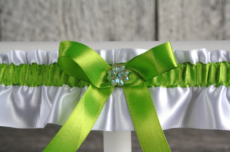 White and green bridal or prom lingerie White satin prom garter White and green satin wedding garter with strass Toss or keepsake garter