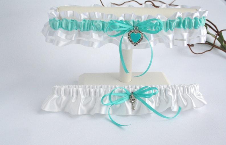 Keepsake and toss heirloom garter Prom garter Satin and organza romantic lingerie Aqua and white garter set for bride Bride garter set