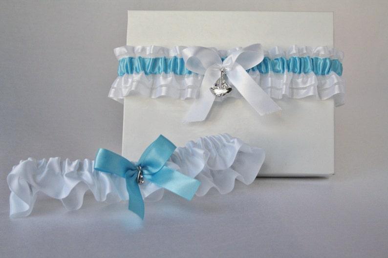 Blue and white garters set Sea garter Bridal organza garter Nautical garter Ocean garter Wedding garter set Boat garter Prom garter