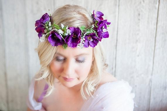 Lavande Fleur Couronne Couronne De Fleurs Violettes Bandeau Bebe