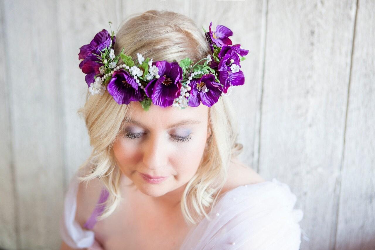 couronne de fleurs violettes pour cheveux couronne de fleurs etsy. Black Bedroom Furniture Sets. Home Design Ideas