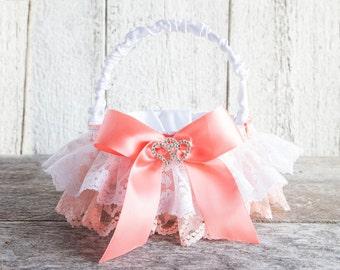 Flower girl basket Lace & satin romantic wedding basket with heart rhinestones