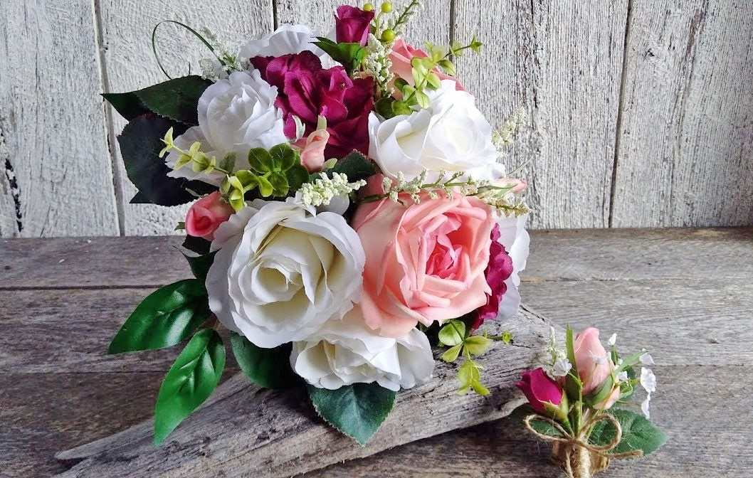 Round Wedding Bouquet Romantic Bride Bouquet Burgundy Pink