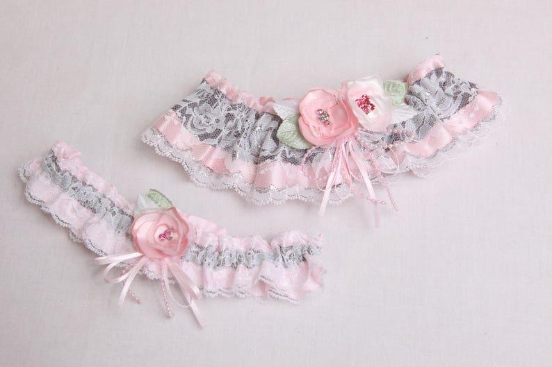 Crystals White /& silver lace garter Prom garter Pink satin and white lace wedding garter set Elegant lace garter Pink silver lingerie