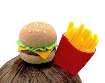 Kawaii Hamburger and French Fries Fascinator Hat ~ Made to Order