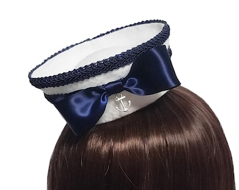 9dc63885770dc High Seas Sailor Elizabeth White and Navy Mini Sailor Hat - Made to Order