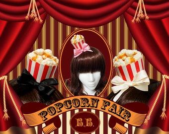Mini Carnival Popcorn Bucket Hair Clip - 7 Bow Colors Available