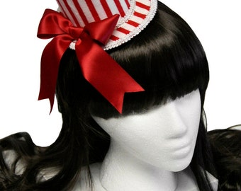 Red and White Striped Boardwalk Carnival and County Fair Mini Top Hat - Made to Order
